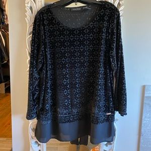 Ivanka Trump Blouse XL black velvet design
